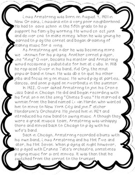 Louis Armstrong - Reading Comprehension Biography and Questions