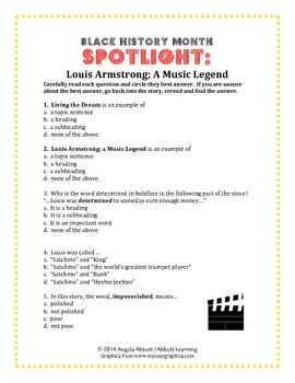 Louis Armstrong Story with Effective Reading Comprehension Questions