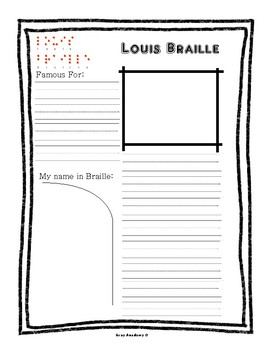 Louis Braille Notebook Worksheet