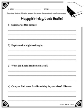 Louis Braille Reading Comprehension, January Reading Passage, Winter Passage