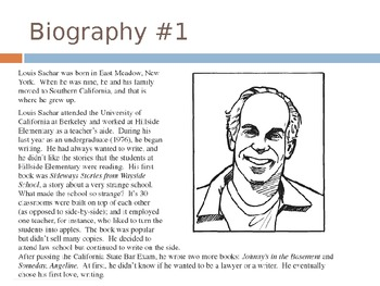 Louis Sachar Biography Activity