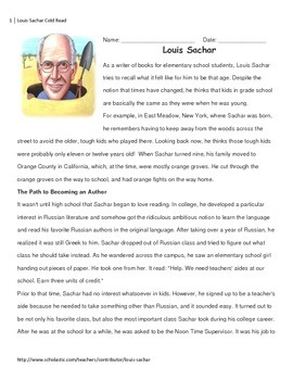 Louis Sachar Cold Read