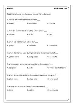 "Louis Sachar ""Holes"" worksheets"