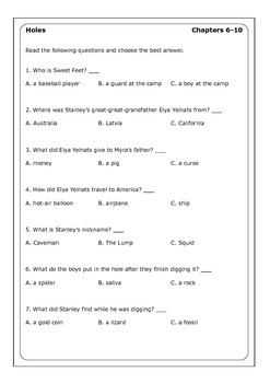 Louis Sachar Quot Holes Quot Worksheets By Peter D Teachers Pay