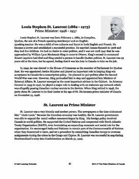 Louis St. Laurent Lesson Plan Grades 4-8