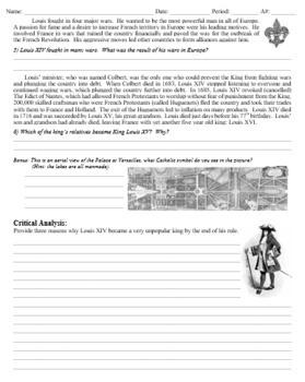 Louis XIV Sun King Homework or In Class Review
