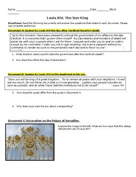 "Louis XIV ""Sun King"" Review Activity"