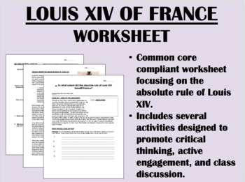 Louis XIV of France worksheet - Absolutism - Global/World History Common Core