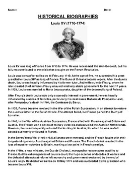 Louis XV  Biography Article and (3) Assignments