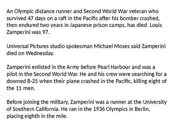 Louis Zamperini and Unbroken History and Quiz