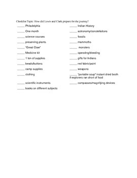 Louis and Clark Reading Activity