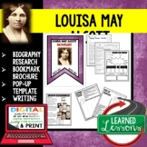 Louisa May Alcott Biography Research, Bookmark, Pop-Up, Writing Women's History