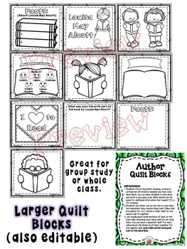 Louisa May Alcott Quilt Worksheets and Blocks (Author Biography)