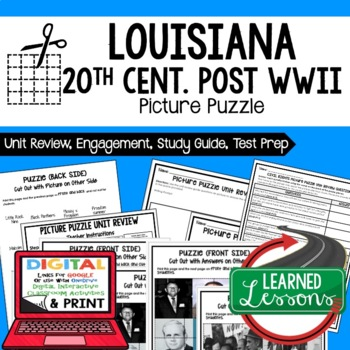 Louisiana 20th Century post WWII Picture Puzzle, Test Prep, Unit Review