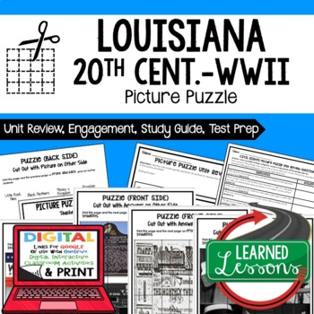 Louisiana 20th Century to WWII Picture Puzzle, Test Prep, Unit Review