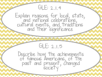 Louisiana 2nd Grade Social Studies GLE Cards Yellow Theme