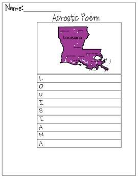 Louisiana Acrostic Poem