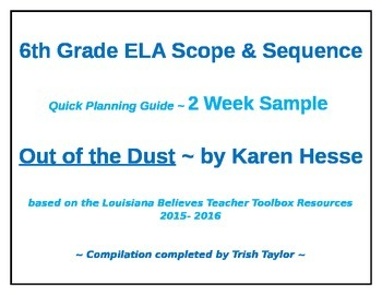 Out of the Dust 2 Week Quick Planning Guide for Louisiana 6th Grade Unit