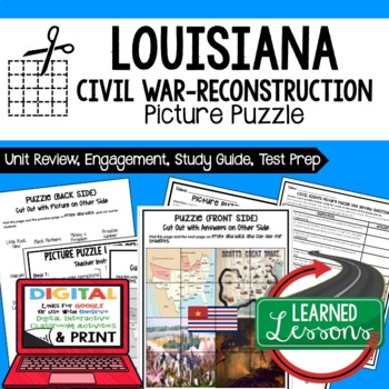 Louisiana Civil War-Reconstruction Picture Puzzle, Test Prep, Unit Review