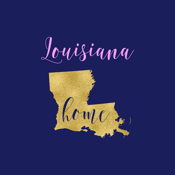 Louisiana Clipart, USA State Vector Clipart, Louisiana Home, Gold US Clipart