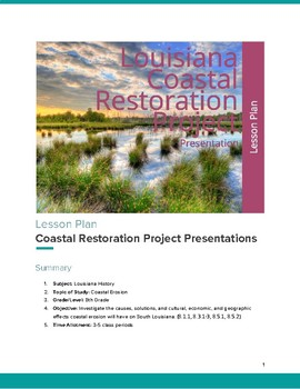 Louisiana Coastal Erosion Restoration Project Presentations