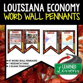 Louisiana Economy and Resources Word Wall Pennants (Louisiana History)