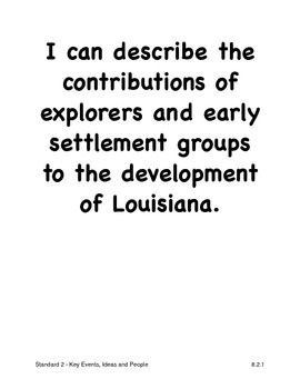 Louisiana Eighth Grade Social Studies I Can Statements (2011 GLEs)