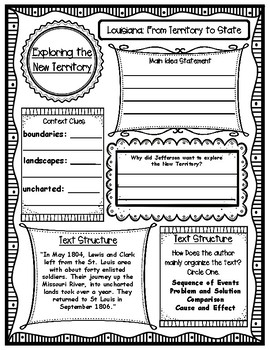 Louisiana From Territory to State Informational Text with Graphic Organizers