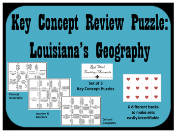 Louisiana Geography Key Concepts Puzzle--Set of 3