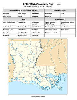 Louisiana Geography Quiz