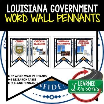 Louisiana Government Word Wall Pennants (Louisiana History)