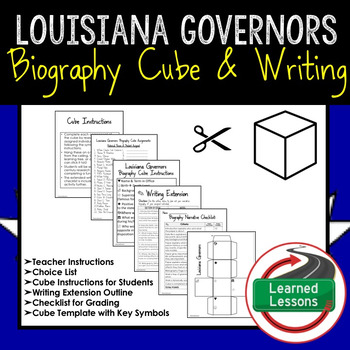 Louisiana Governors Activity Biography Cube with Writing Extension Activity