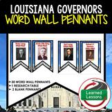 Louisiana Governors Word Wall Pennants, Louisiana History Word Wall