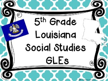 Louisiana Grade 5 Social Studies GLEs 2011 Complete Poster Set Blue