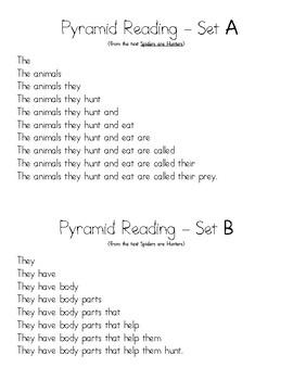 Louisiana Guidebook Unit: Spiders Lesson 4-Pyramid Reading Fluency Activity
