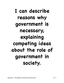 Louisiana High School Civics Social Studies I Can Statements (2011 GLEs)