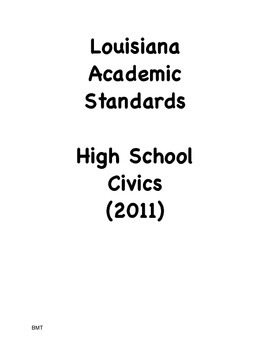 Louisiana High School Civics Social Studies I Can Statemen