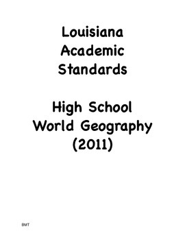 Louisiana High School Geography Social Studies I Can Statements (2011 GLEs)