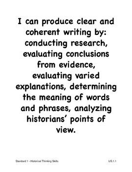 Louisiana High School U.S. History Social Studies I Can Statements (2011 GLEs)