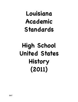 Louisiana High School U.S. History Social Studies I Can St