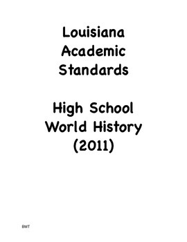 Louisiana High School World History Social Studies I Can S