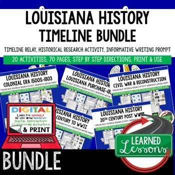 Louisiana History 1803-1859 Timeline, Digital Interactive Notebook, PRINT