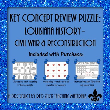Louisiana History Civil War and Reconstruction Key Concept Puzzles