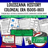 Louisiana History Colonial Timeline, Digital Interactive Notebook, Google, PRINT