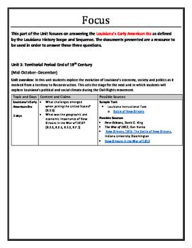 Louisiana History - Unit 3A - Early Territorial Period - 8th Grade