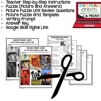 Louisiana History Festivals Picture Puzzle, Test Prep, Unit Review, Study Guide