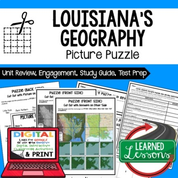 Louisiana History Geography Picture Puzzle, Test Prep, Unit Review, Study Guide