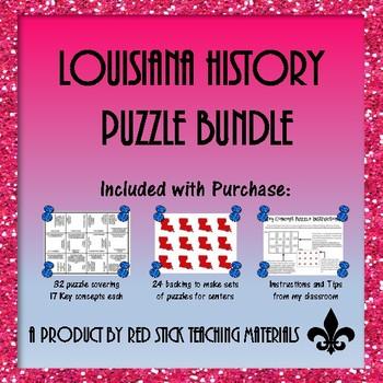 Louisiana History Key Concepts Puzzle Bundle--A GROWING BUNDLE!