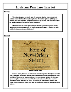 Louisiana History - Louisiana Purchase Item Set
