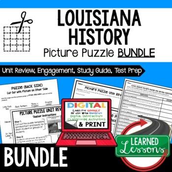 Louisiana History Picture Puzzle BUNDLE, Test Prep, Unit Review, Study Guide